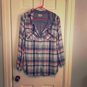 Tops - Blue and pink flannel with hood